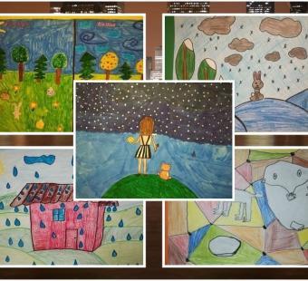 """Mokinių kūrybos darbų paroda """"Ramutės Skučaitės eilėraščių šalyje"""""""